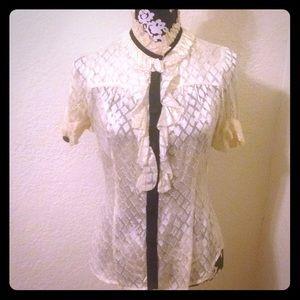Diane von Furstenberg sheer ruffled blouse shirt